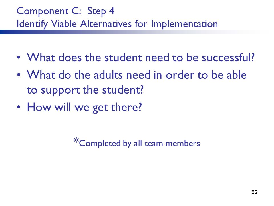 Component C: Step 4 Identify Viable Alternatives for Implementation What does the student need to be successful.