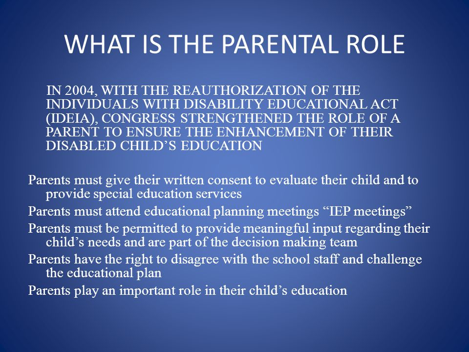 THE SUPREME IMPORTANCE OF A PARENTS ROLE IN CREATING COLLABORATION Presented by SANDEE WINKELMAN