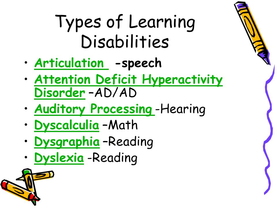 Types of Learning Disabilities Articulation -speechArticulation Attention Deficit Hyperactivity Disorder –AD/ADAttention Deficit Hyperactivity Disorder Auditory Processing -HearingAuditory Processing Dyscalculia –MathDyscalculia Dysgraphia –ReadingDysgraphia Dyslexia -ReadingDyslexia