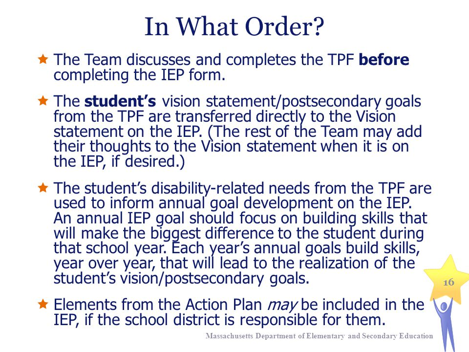 In What Order.  The Team discusses and completes the TPF before completing the IEP form.
