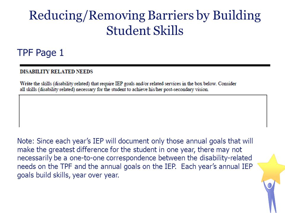 Reducing/Removing Barriers by Building Student Skills TPF Page 1 Note: Since each year's IEP will document only those annual goals that will make the greatest difference for the student in one year, there may not necessarily be a one-to-one correspondence between the disability-related needs on the TPF and the annual goals on the IEP.