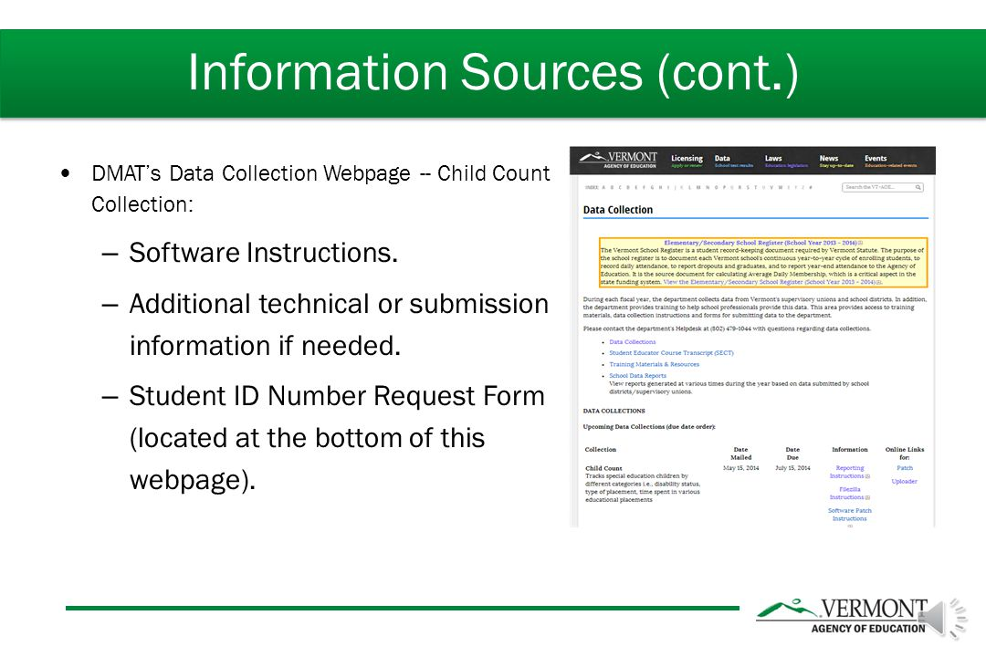DMAT's Data Collection Webpage -- Child Count Collection: – Software Instructions.