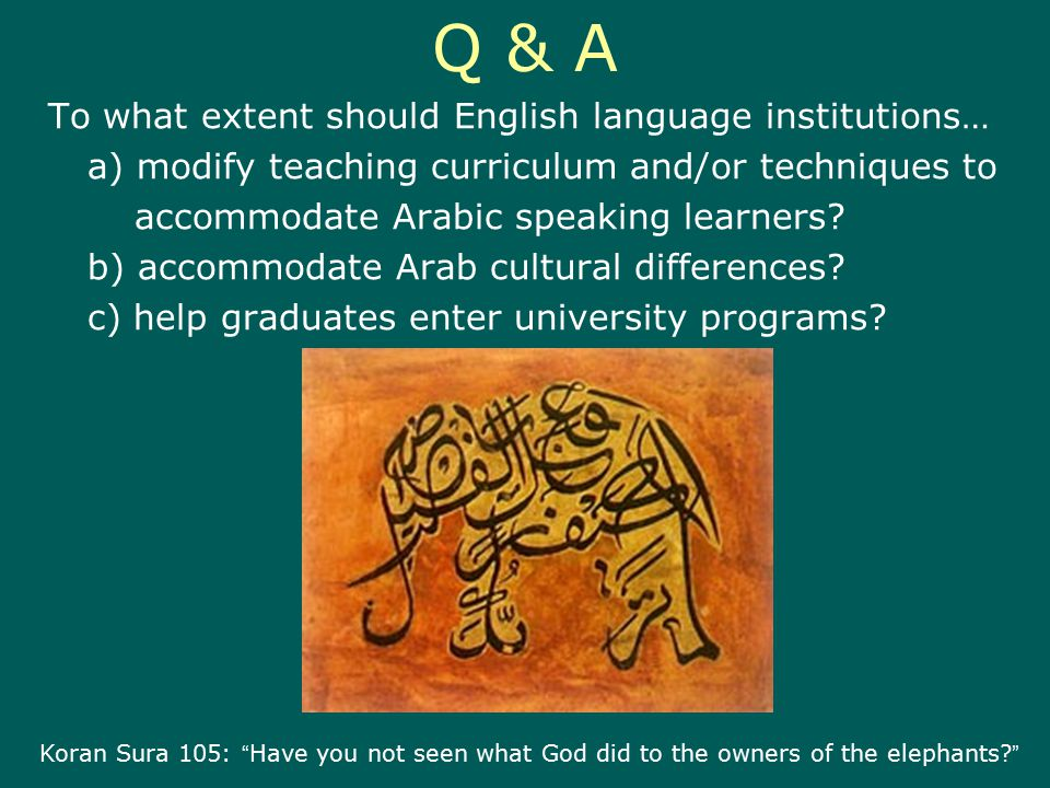 Q & A To what extent should English language institutions… a) modify teaching curriculum and/or techniques to accommodate Arabic speaking learners.