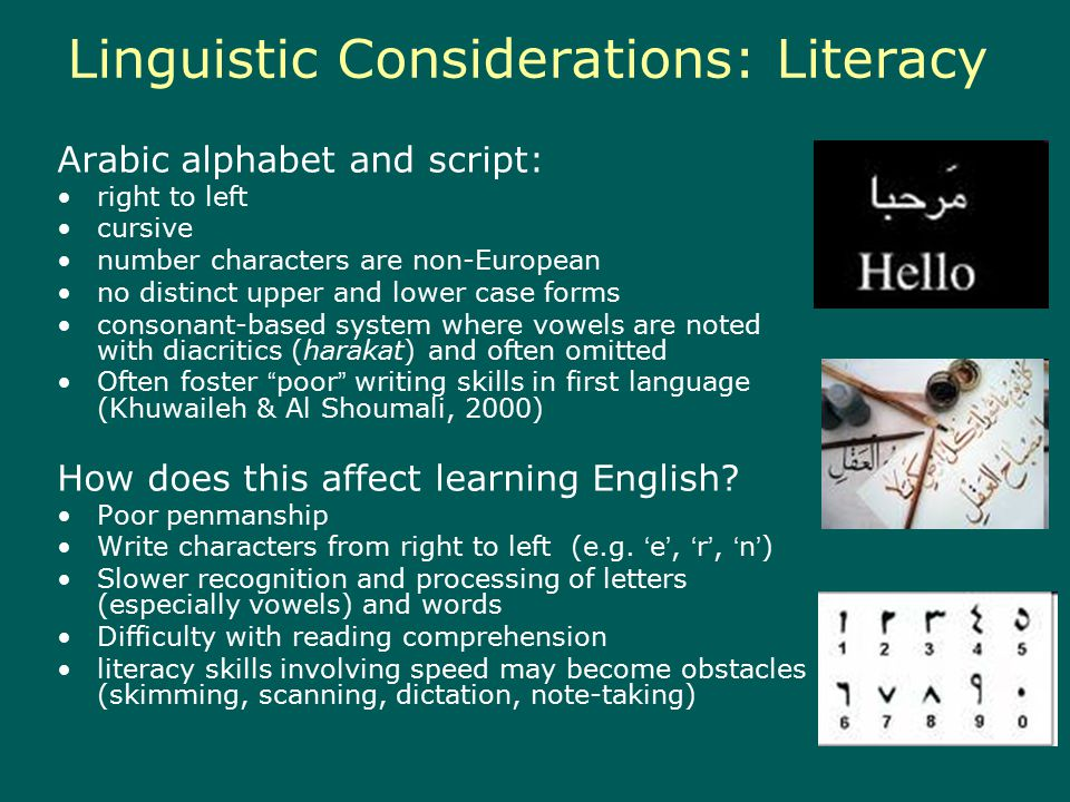 Linguistic Considerations: Literacy Arabic alphabet and script: right to left cursive number characters are non-European no distinct upper and lower case forms consonant-based system where vowels are noted with diacritics (harakat) and often omitted Often foster poor writing skills in first language (Khuwaileh & Al Shoumali, 2000) How does this affect learning English.