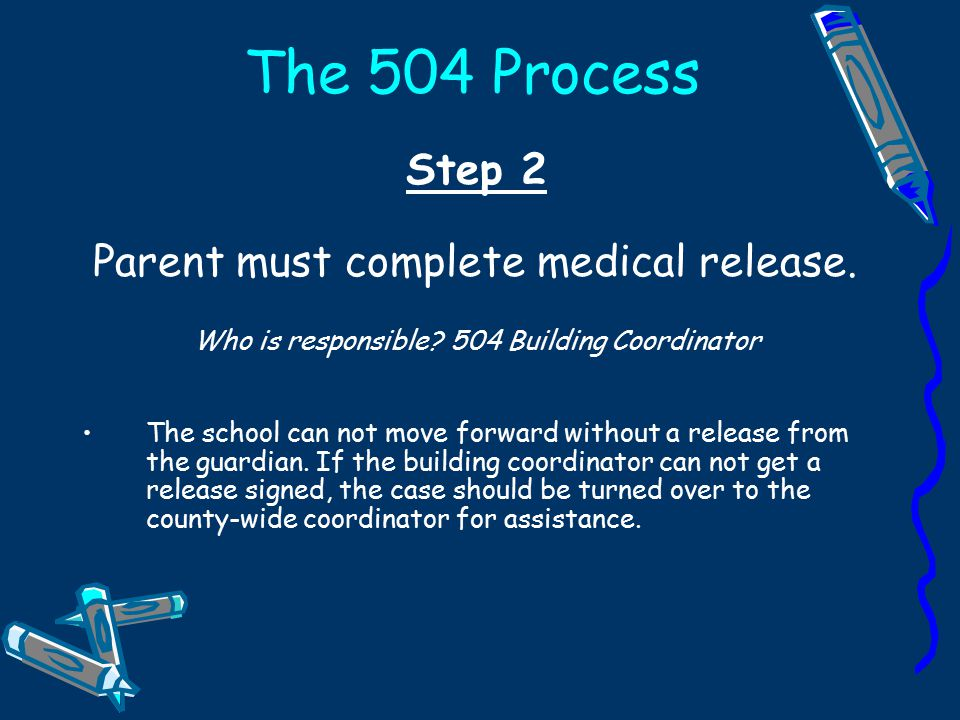 The 504 Process Step 1 Identify students that may have disabilities.