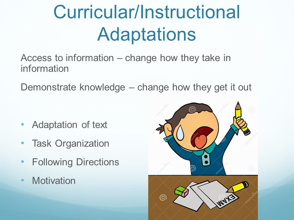 Curricular/Instructional Adaptations Access to information – change how they take in information Demonstrate knowledge – change how they get it out Ad