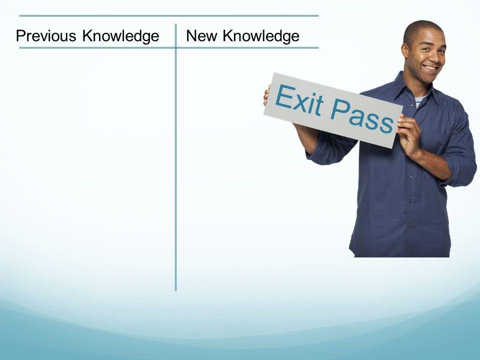 Exit Pass Previous KnowledgeNew Knowledge