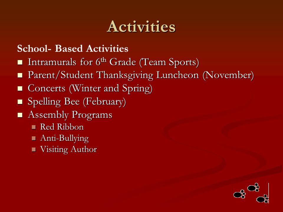 Activities School- Based Activities Intramurals for 6 th Grade (Team Sports) Intramurals for 6 th Grade (Team Sports) Parent/Student Thanksgiving Lunc