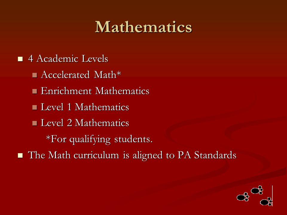Mathematics 4 Academic Levels 4 Academic Levels Accelerated Math* Accelerated Math* Enrichment Mathematics Enrichment Mathematics Level 1 Mathematics
