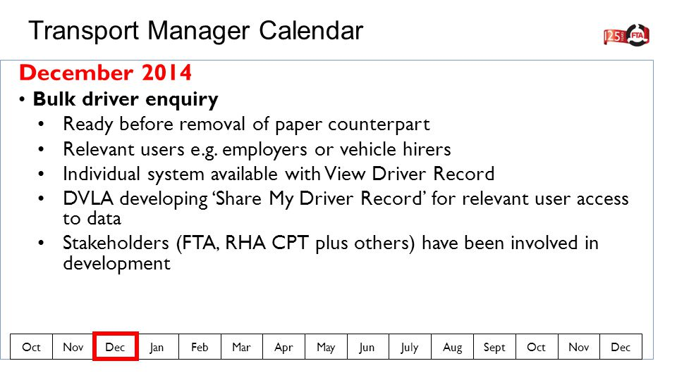 December 2014 Bulk driver enquiry Ready before removal of paper counterpart Relevant users e.g.