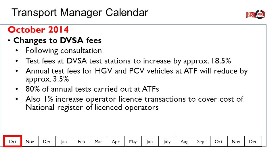 October 2014 Changes to DVSA fees Following consultation Test fees at DVSA test stations to increase by approx.