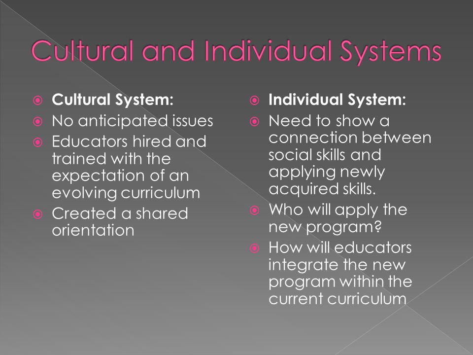  Cultural System:  No anticipated issues  Educators hired and trained with the expectation of an evolving curriculum  Created a shared orientation  Individual System:  Need to show a connection between social skills and applying newly acquired skills.
