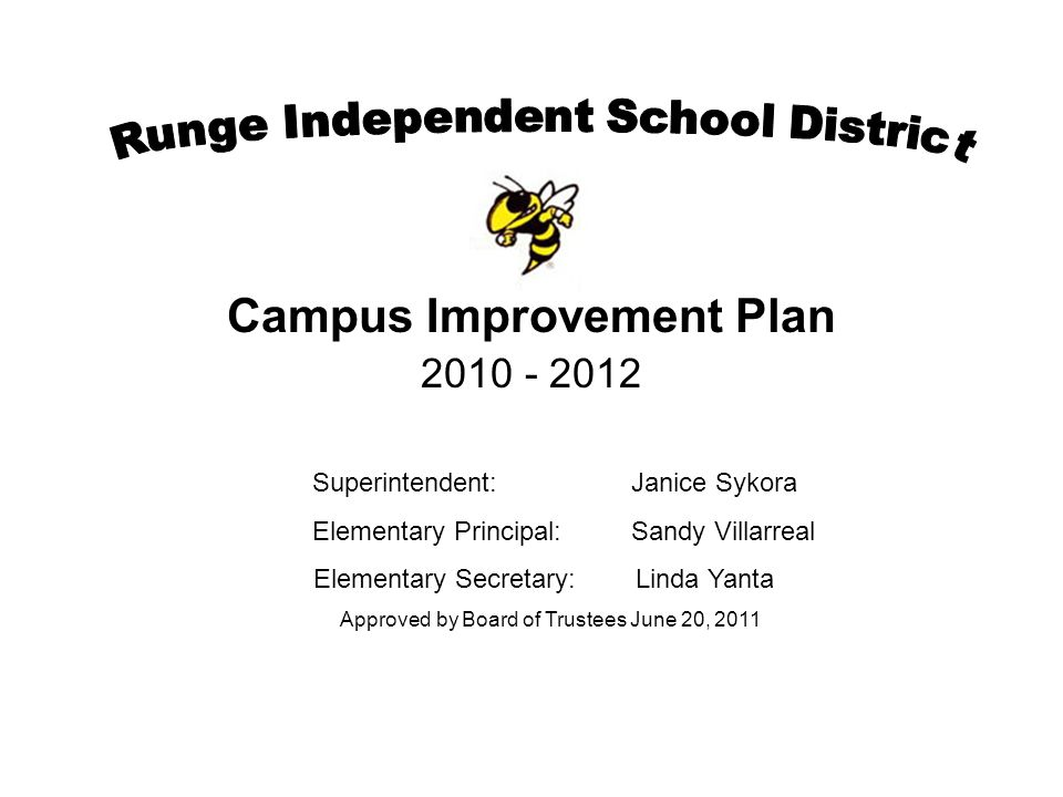 Campus Improvement Plan 2010 - 2012 Superintendent:Janice Sykora Elementary Principal: Sandy Villarreal Elementary Secretary: Linda Yanta Approved by