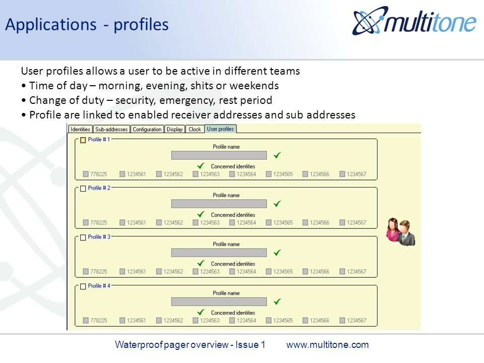 Applications - profiles User profiles allows a user to be active in different teams Time of day – morning, evening, shits or weekends Change of duty –