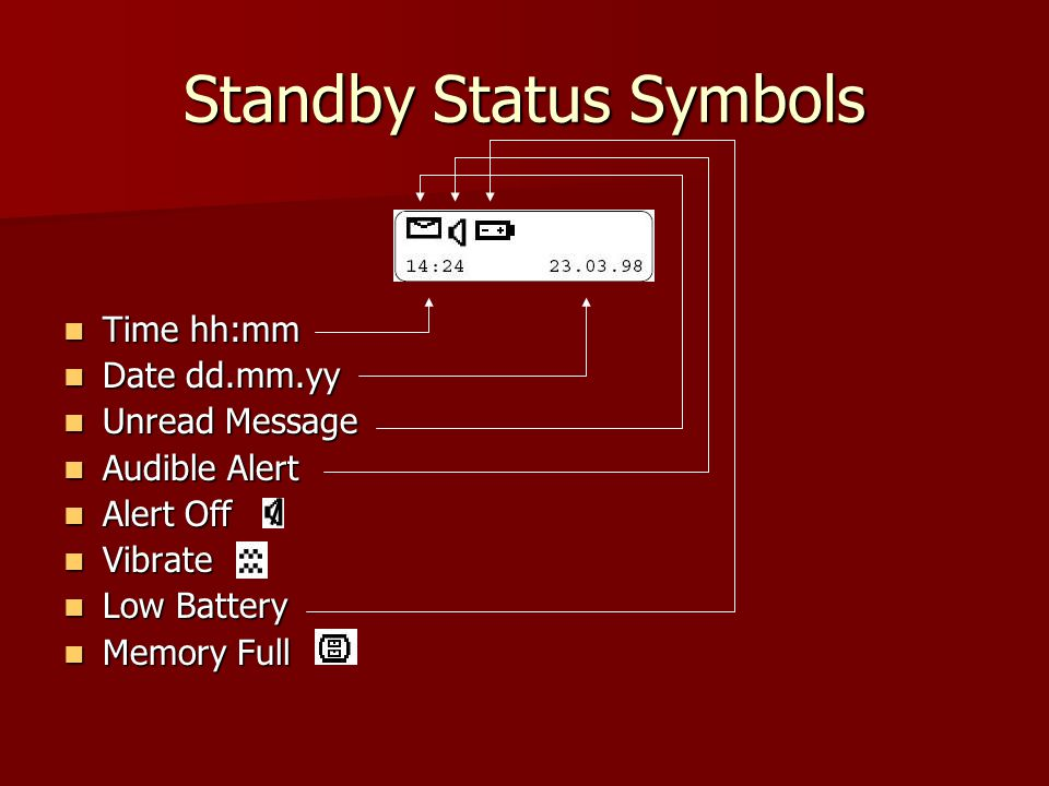 Standby Status Symbols Time hh:mm Time hh:mm Date dd.mm.yy Date dd.mm.yy Unread Message Unread Message Audible Alert Audible Alert Alert Off Alert Off Vibrate Vibrate Low Battery Low Battery Memory Full Memory Full