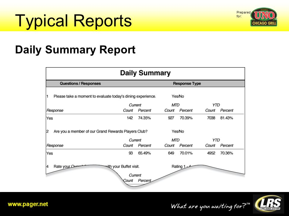 Prepared for: www.pager.net Typical Reports Daily Summary Report
