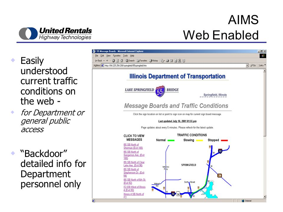 AIMS Web Enabled  Easily understood current traffic conditions on the web -  for Department or general public access  Backdoor detailed info for Department personnel only