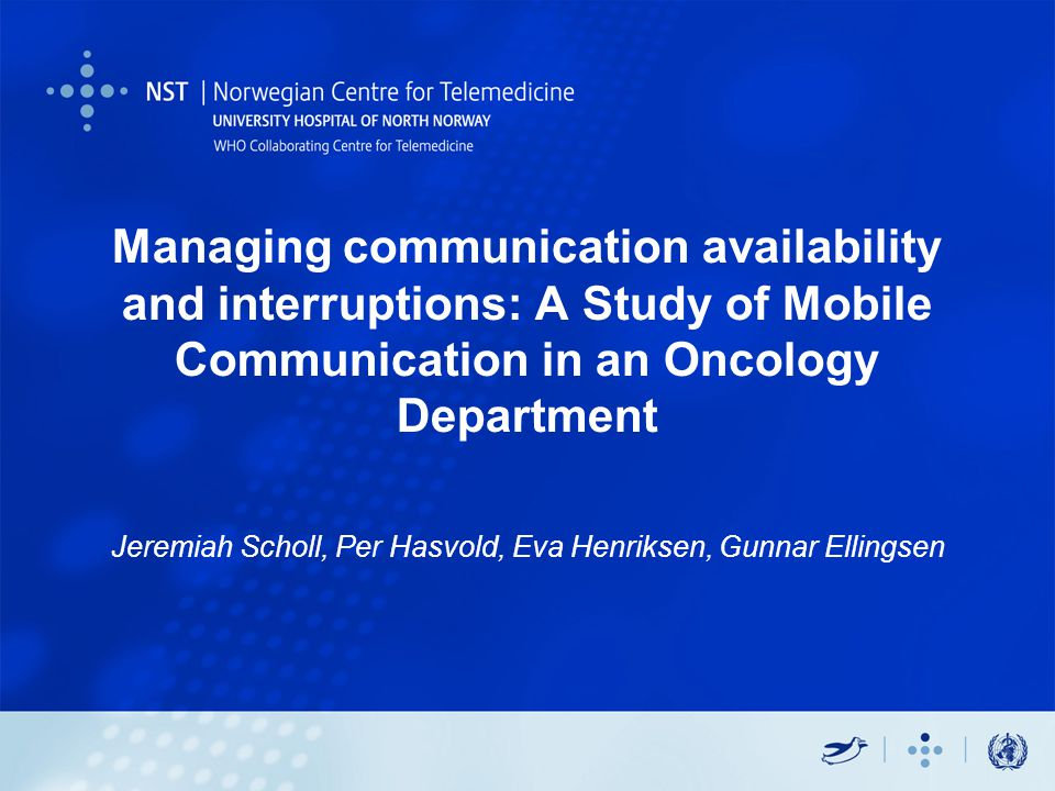 Agenda Background –Mobile communication in hosptials The study –Design –Results Organization of department (not featured) Use of Pagers Use of Phones Attitudes towards text messaging –Implications on desgin