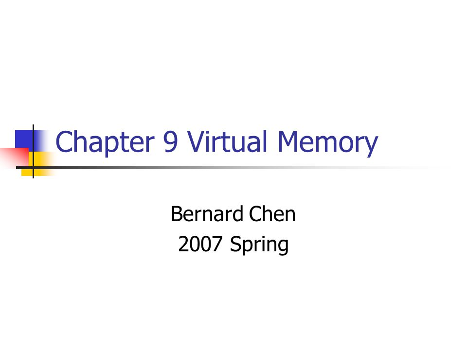 Virtual Memory Only part of the program needs to be in memory for execution Logical address space can therefore be much larger than physical address space Allows for more efficient process creation Virtual memory can be implemented via: Demand paging Demand segmentation