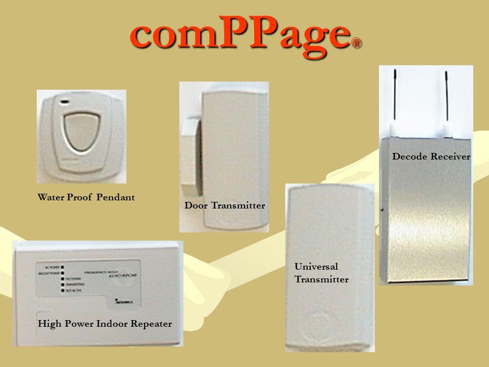 comPPage ® Water Proof Pendant Decode Receiver High Power Indoor Repeater Universal Transmitter Door Transmitter