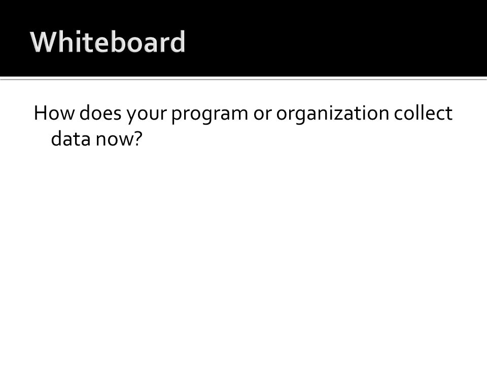 How does your program or organization collect data now