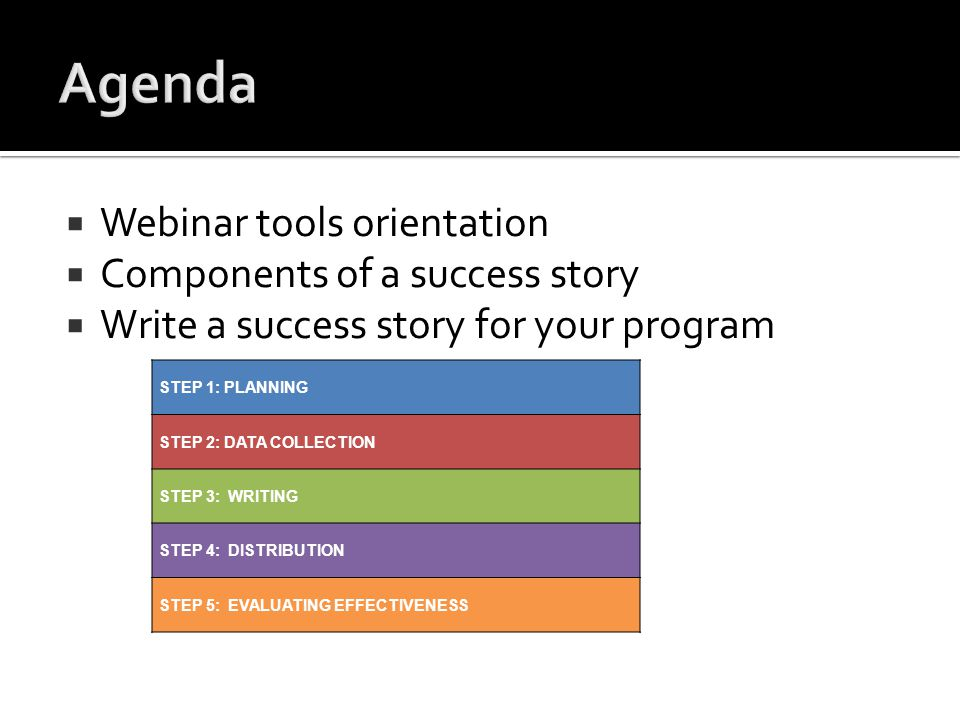  Webinar tools orientation  Components of a success story  Write a success story for your program STEP 1: PLANNING STEP 2: DATA COLLECTION STEP 3: WRITING STEP 4: DISTRIBUTION STEP 5: EVALUATING EFFECTIVENESS