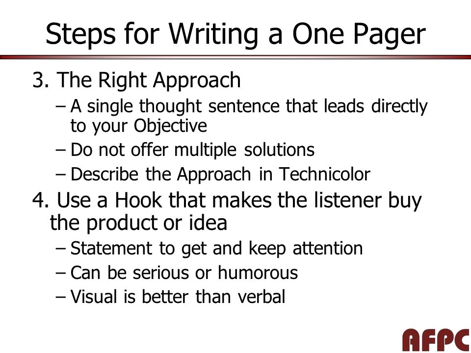 Steps for Writing a One Pager 3.