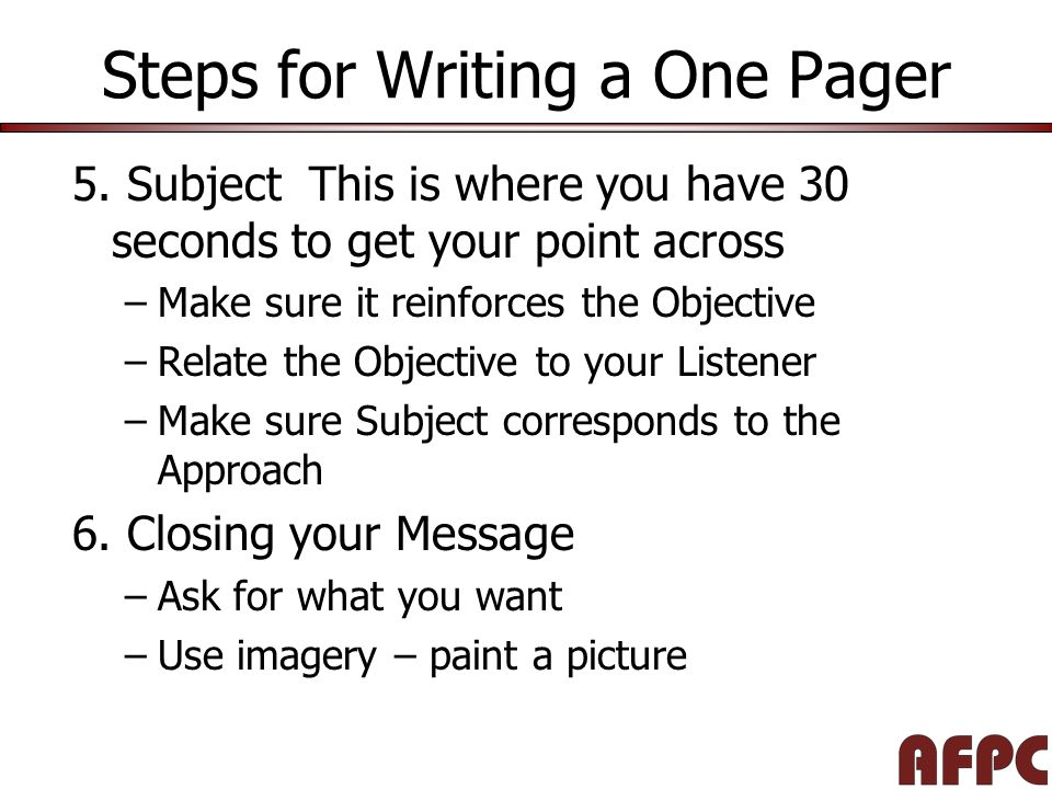 Steps for Writing a One Pager 5.