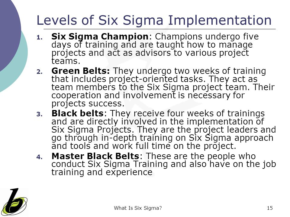 What Is Six Sigma?15 Levels of Six Sigma Implementation 1. Six Sigma Champion: Champions undergo five days of training and are taught how to manage pr