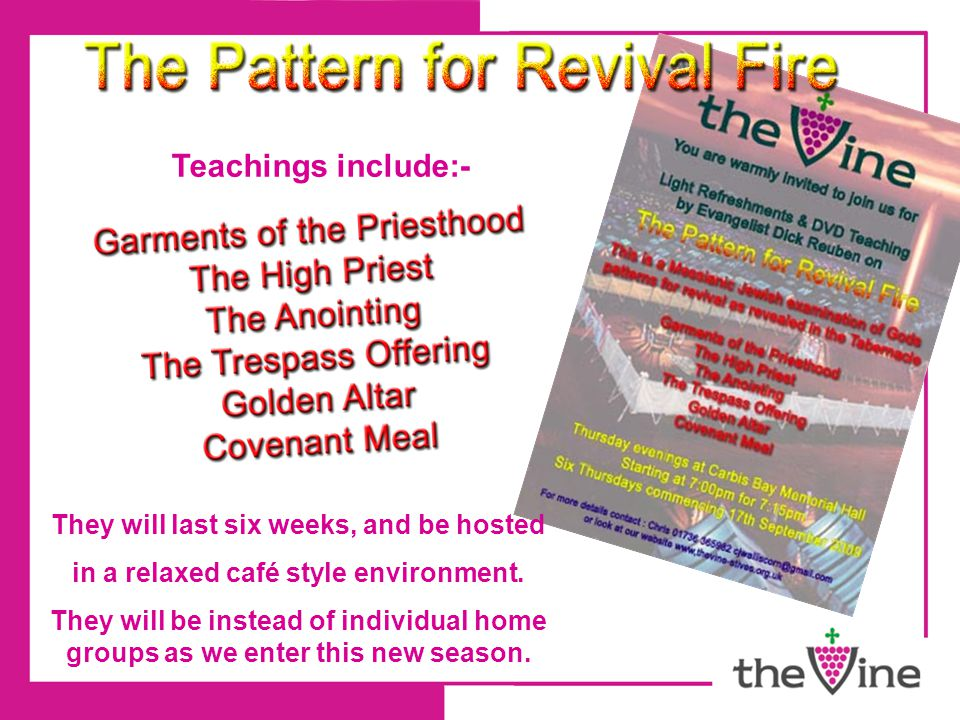 Teachings include:- They will last six weeks, and be hosted in a relaxed café style environment.