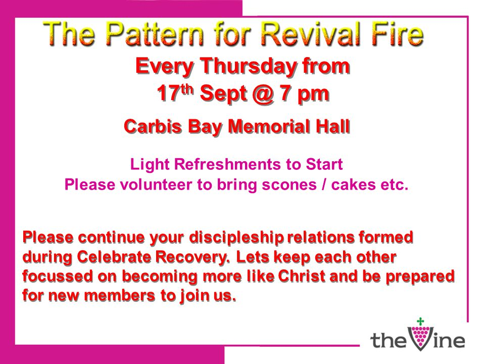 Every Thursday from 17 th Sept @ 7 pm Every Thursday from 17 th Sept @ 7 pm Carbis Bay Memorial Hall Light Refreshments to Start Please volunteer to bring scones / cakes etc.