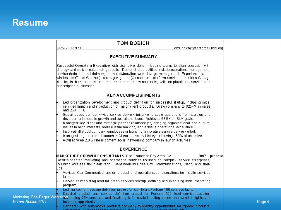 Resume Page 4 Marketing One-Pager Workshop © Tom Bobich 2011
