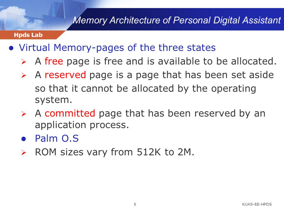 Hpds Lab Memory Architecture of Personal Digital Assistant KUAS-EE-HPDS5 Virtual Memory-pages of the three states  A free page is free and is availab