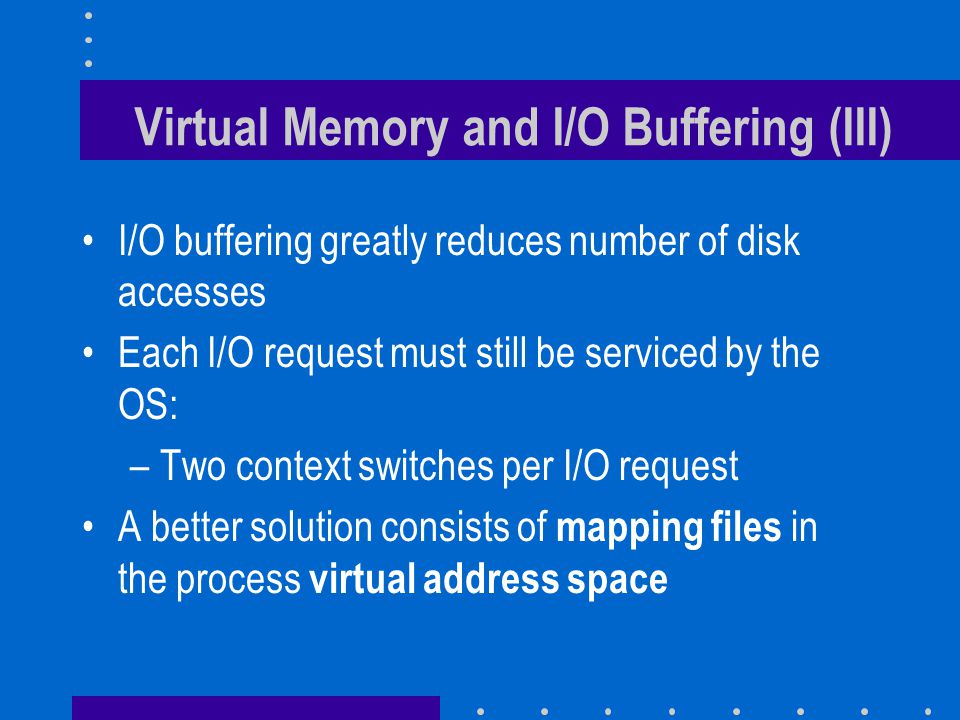 Mapped files (I) Swap area Process in main memory External Pager Disk Drive Usual VM Pager