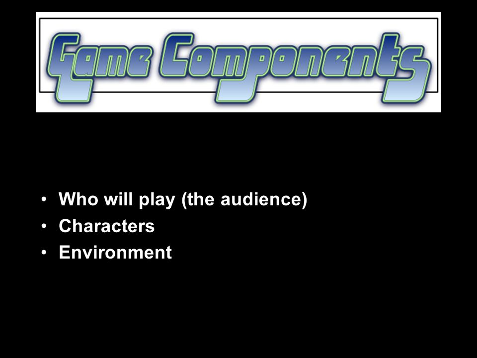 Who will play (the audience) Characters Environment