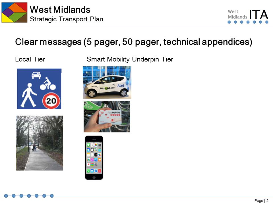 West Midlands Strategic Transport Plan Clear messages (5 pager, 50 pager, technical appendices) Local Tier Smart Mobility Underpin Tier Page | 2