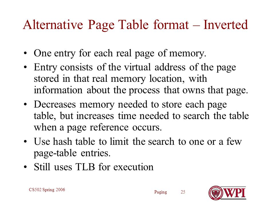 Paging 25 CS502 Spring 2006 Alternative Page Table format – Inverted One entry for each real page of memory.