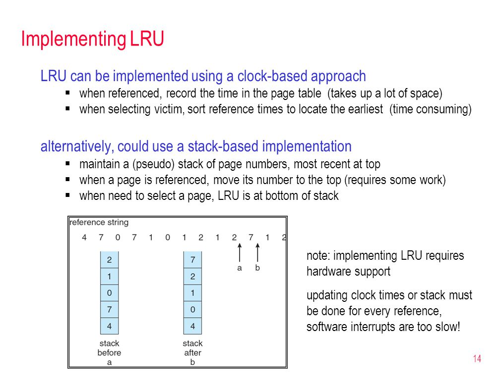 14 Implementing LRU LRU can be implemented using a clock-based approach  when referenced, record the time in the page table (takes up a lot of space)  when selecting victim, sort reference times to locate the earliest (time consuming) alternatively, could use a stack-based implementation  maintain a (pseudo) stack of page numbers, most recent at top  when a page is referenced, move its number to the top (requires some work)  when need to select a page, LRU is at bottom of stack note: implementing LRU requires hardware support updating clock times or stack must be done for every reference, software interrupts are too slow!