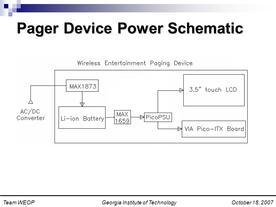 Georgia Institute of TechnologyTeam WEOPOctober 18, 2007 Pager Device Power Schematic