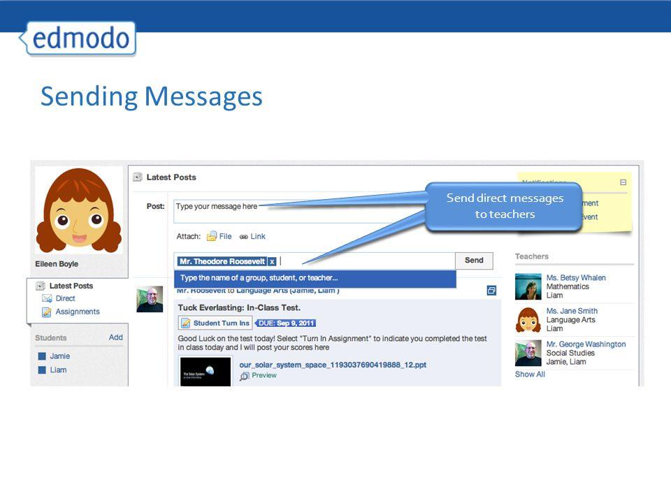 Send direct messages to teachers Sending Messages