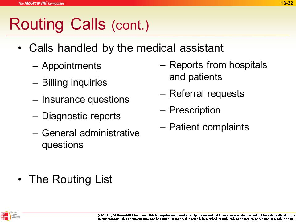 13-31 Routing Calls Calls requiring the physician's attention –Emergency calls –Calls from other physicians –Patient requests regarding test results –