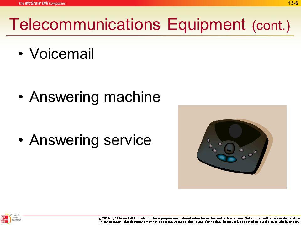 13-5 Telecommunications Equipment Telephone system Multi-line telephones Automated voice response unit –Answer calls –Make reminder calls –Patient sur