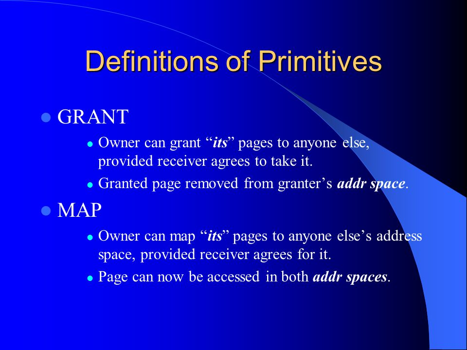 """Definitions of Primitives GRANT Owner can grant """"its"""" pages to anyone else, provided receiver agrees to take it. Granted page removed from granter's a"""