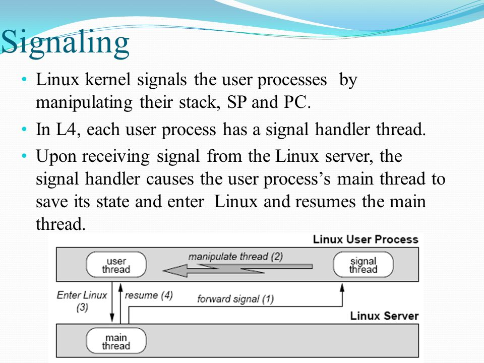 Signaling Linux kernel signals the user processes by manipulating their stack, SP and PC.