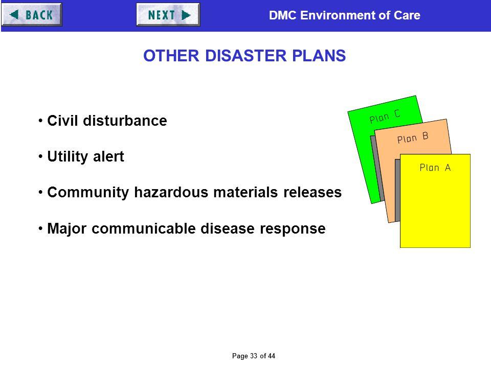 DMC Environment of Care Page 33 of 44 Civil disturbance Utility alert Community hazardous materials releases Major communicable disease response OTHER