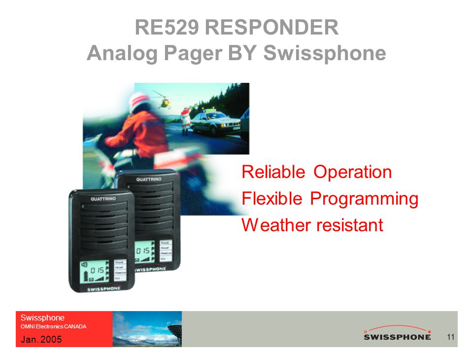 Swissphone OMNI Electronics CANADA 11 Jan. 2005 RE529 RESPONDER Analog Pager BY Swissphone Reliable Operation Flexible Programming Weather resistant