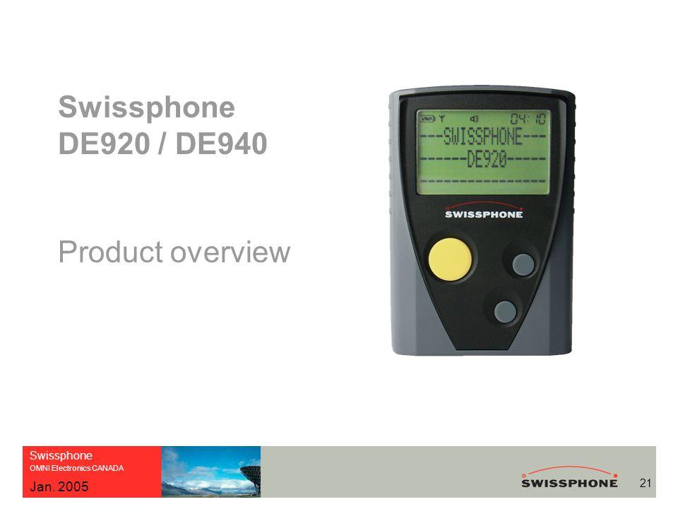 Swissphone OMNI Electronics CANADA 21 Jan. 2005 Swissphone DE920 / DE940 Product overview