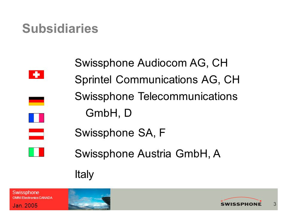 Swissphone OMNI Electronics CANADA 3 Jan. 2005 Subsidiaries Swissphone Audiocom AG, CH Sprintel Communications AG, CH Swissphone Telecommunications Gm
