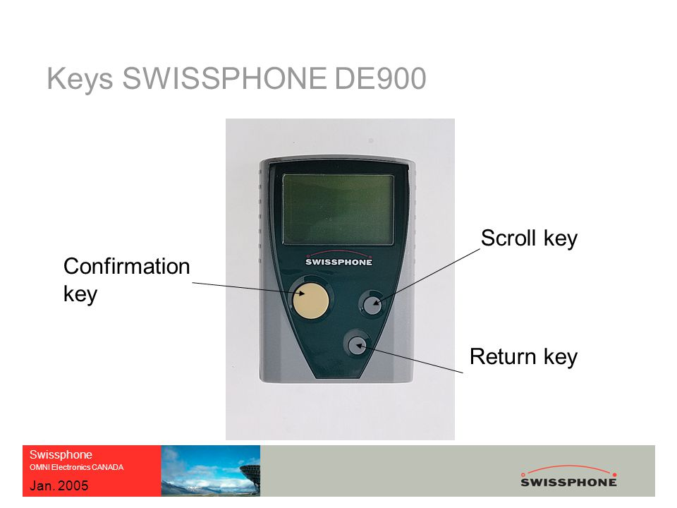Swissphone OMNI Electronics CANADA Jan. 2005 Keys SWISSPHONE DE900 Confirmation key Scroll key Return key