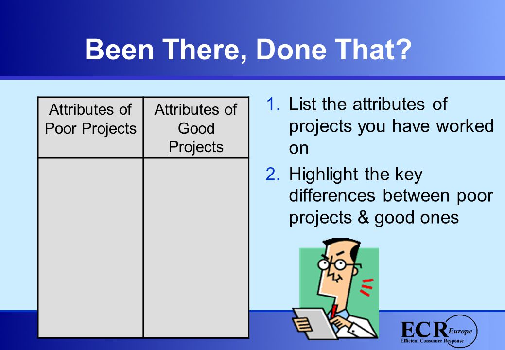 Been There, Done That? Attributes of Poor Projects Attributes of Good Projects 1.List the attributes of projects you have worked on 2.Highlight the ke